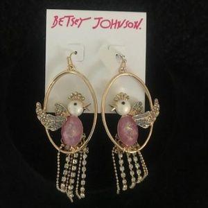 BETSEY JOHNSON Rhinestone Cockatiel Earrings
